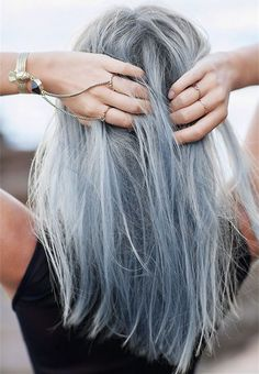 Grey hair, gray hair, silver hair, pastel hair.Light gray with pastel blue, a nice hair color choice