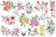Posted by @newkoko2020 Watercolor Flowers & Berries by Spasibenko Art on @creativemarket