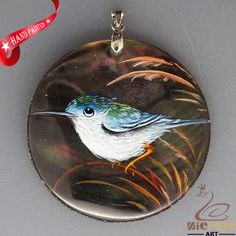 HAND PAINTED BLUE BIRD NATURAL MOP MOTHER OF PEARL SHELL PENDANT ZL3005770 #ZL #PENDANT