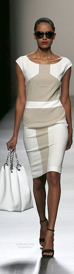 Gorgeous neutral dress with flattering lines by Roberto Torretta.   #dresses #Spring #robertotorretta