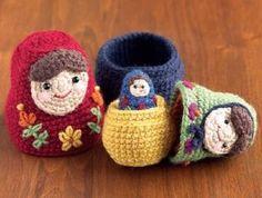 Crochet up a cute little family of Matryoshka nesting dolls.