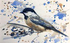 Backyard Bird Sketch, Chickadee Watercolor Sketch by Jennifer Branch