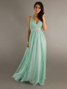 A-line V-neck Floor-length Chiffon Dress VADRESS1809