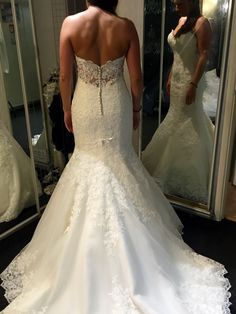 A Mori Lee, lace, fishtail wedding dress, customised with pearls