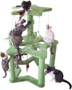 "Deluxe Superstar Cat Playground  At 48"" tall, this deluxe cat playground comes with 10 hanging cat toys - including a variety of toys with catnip, rattles, tassles, and faux fur. The double spoked design allows for 3 levels of play. Watch your cats as they play on all 3 levels of this versatile kitty gym. A solid base is also available, upon request.  - Dimensions 48""Hx37""Wx35""D  - Weight 65lbs  . Material Plywood, Solid Pine (Posts), 100% Nylon Carpet"