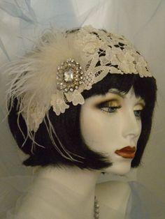 1920's Bridal Headpiece Flapper Headband by elisevictoriadesigns