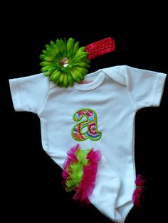 Monogram Baby Girl Clothes Ruffle Butt One-Piece Personalized Baby Girl Outfit Ruffle Butt and Flower Headband Gift Set Preemie to 24 mon