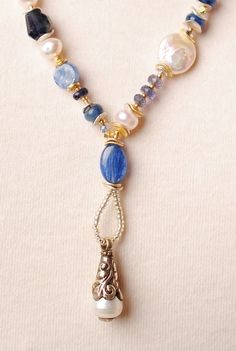sea010 unique artisan kyanite gemstone freshwater pearl sterling silver long dangle pearl pendant necklace for women
