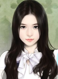 Chinese Painting Girl Intense Look