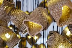 Graypants took inspiration from the natural phenomenon, called murmuration, and designed an eye-catching lighting installation out of cardboard. Laser Cut Lamps, Design Museum, Organic Shapes, Light Fittings, Sustainable Design, Light Decorations, Form, Lamp Light, Pendant Lighting