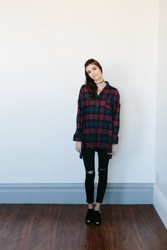 Oversized Flannel Button Down- Red