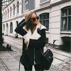 Casual black shearling jacket.