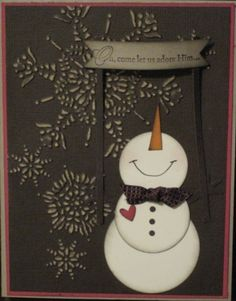 snowman card. I just adore these little snowmen looking up.