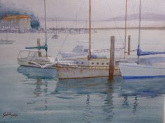 Nelson Bay Boat harbour, watercolour