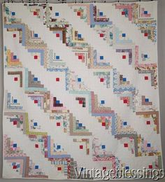 "$195 Charming Cottage Style! VINTAGE 30s Pastel Log Cabin QUILT 78"" x 69"" www.Vintageblessings.com"