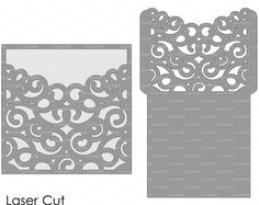 Wedding Luxery Envelope Card Template swirl by EasyCutPrintPD