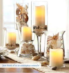 candels and shells for wedding decorations!