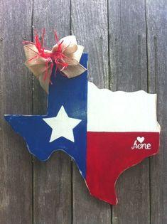 Texas Wooden Door Hanger with Love to Your Hometown by Earthlizard, $40.00