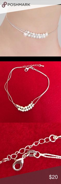 NEW ANKLET New Sterling Silver stamped .925, 2 strand adjustable chain. 16 Smooth and brushed silver beads designed to stay in the middle of the chain. Simple elegance .... Jewelry Bracelets