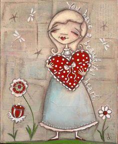 Print of my original Folk Art Painting    Your Beautiful Heart  ©dianeduda/dudadaze