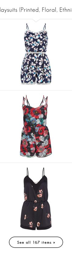 """""""Playsuits (Printed, Floral, Ethnic)"""" by giovanna1995 ❤ liked on Polyvore featuring floral, print, ethnic, playsuit, jumpsuits, rompers, blue pattern, print romper, floral rompers and flower print romper"""