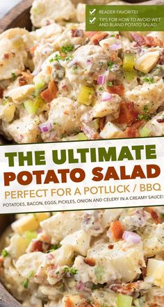 """This Potato Salad is my FAVORITE summertime recipe! Added tips on how to get the perfect potato texture, prevent a """"wet"""" potato salad, and how to add extra zing that will make everyone want the recipe! #potatosalad #potatoes #salad #potluckrecipe #summer #salad #sidedish #picnic Best Potato Salad Recipe, Easy Salad Recipes, Potluck Recipes, Side Dish Recipes, Potato Recipes, Healthy Recipes, Potato Salad With Bacon, Ingredients For Potato Salad, Summer Salad Recipes"""