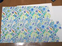 Johanna Basford coloring book, pastel blue, green, teal, Aqua w yellow and orange highlights