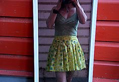 Summer skirt tutorial - shirred waistband and poofy cotton voile skirt with lining.