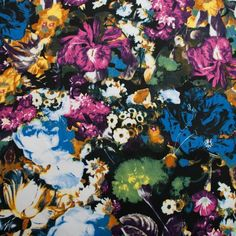A nice sateen with a beautiful, dark floral print. As it's a medium-weight stretch sateen, this fabric would work well...