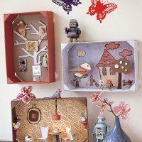 Des tableaux dans des cagettes en bois - Marie Claire Idées