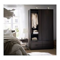 Buy IKEA TRYSIL Wardrobe with Sliding Doors 4 Drawers in White Color. At Home Furniture Store, Modern Home Furniture, Affordable Furniture, Sliding Wardrobe Doors, Sliding Doors, Closet Doors, Open Wardrobe, Wardrobe Ideas, Ikea Trysil