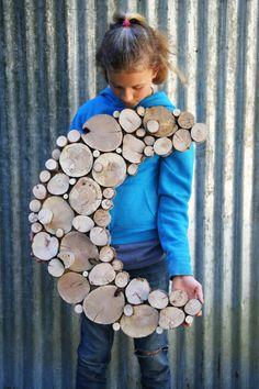 Half Moon albero fetta parete scultura appeso a parete moderna arte riciclata muro legno arredamento arte astratta arte giardino ufficio arte eco arredamento