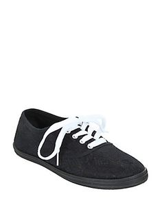 Black Lace-Up Sneaker, BLACK