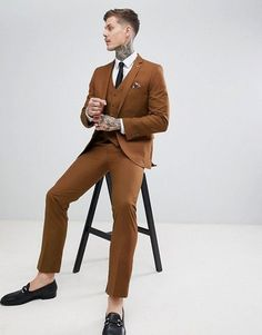 Shop the latest Harry Brown Slim Semi Plain Textured Suit Jacket trends with ASOS! Brown Suit Wedding, Tuxedo Wedding, Wedding Suits, Boho Wedding, Brown Suits For Men, Tuxedo For Men, Brown Tux, Hipster Suit, Groom And Groomsmen Suits