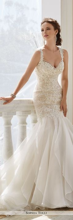 Sophia Tolli Fall 2016 Wedding Gown Collection - Style No. Y21672 Aprilia - sleeveless lace trumpet wedding dress with multi-layered skirt