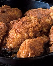This pan-fried chicken is manna for the health conscious, as it actually absorbs very little oil -- only two-and-three-quarter tablespoons for four servings (two pieces per serving).