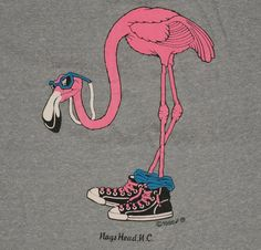 Vintage 1980s Nags Head North Carolina Flamingo Bird T-Shirt Grey Gray Travel 80s