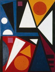"Auguste Herbin (1882-1960), 1955, Neuf ""9"", oil on canvas. iL"