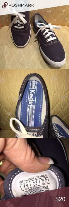 Keds - Ladies Size 7 Ladies Keds.  Size 7.  Navy Blue.  White laces.  In beautiful condition- worn twice. Keds Shoes Sneakers