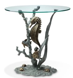 Seahorse Glass End Table sculpture Nautical SPI beach Statue 33786 NEW