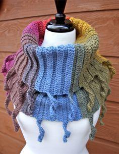 Curly Cute Cowl in Lion Brand Mandala Chimera, crochet scarf pattern, Lion Brand Mandala yarn crochet scarf pattern, crochet scarf pattern, free crochet scarf pattern Crochet Cowl Free Pattern, Crochet Mandala Pattern, Crochet Poncho, Crochet Yarn, Free Crochet, Knitting Patterns, Crochet Patterns, Scarf Patterns, Crochet Scarves