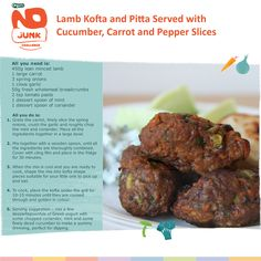 NO JUNK SUPPER - From Organix Dad.  Try our tasty lamb kofta kebabs with fresh cucumber and yoghurt dip ...