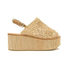 Robert Clergerie Fiesta raffia flatform sandals ($550) ❤ liked on Polyvore featuring shoes, sandals, beige, robert clergerie sandals, woven wedge sandals, wedge shoes, wedge sandals and wedge heel sandals