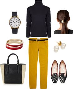 """""""Focus on the Shoes"""" by bluehydrangea ❤ liked on Polyvore Mustard pants, black top & belt...love"""