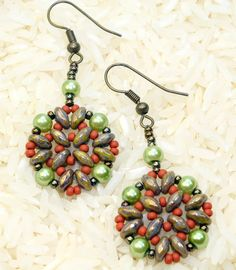 Handmade bead woven earrings, super duo and seed beads, dangle or drop earrings, green, rust, gift under 20, stocking stuffer