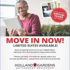 Holland Gardens Retirement Residence in Bradford are now accepting Move Ins -  Call us today for more info! 😊 #vervecares #community #moveins #welcomehome #support Holland Garden, Wellness Activities, Assisted Living, Senior Living, Bradford, Retirement, Gardens, Community, Tuin