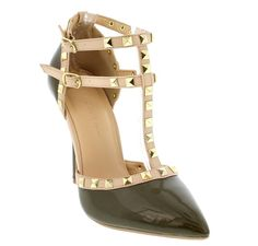 """Wild Diva Womens Pointy Toe Gold Stud Strappy Ankle T-Strap Stiletto Heel Pump Sandal,9 B(M) US, Olive. Features a pointy toe front, T-strap construction with studded details. Wrapped stiletto heel finished with lightly padded insole. Adjustable double ankle strap with buckle closure. Heel Height: 4.5"""" (Approx). Images were taken off from actual product, color may be slightly different due to different monitor display."""