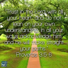 Bible verse ~ Proverbs 3:5-6
