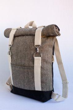 Roll top backpack brown grey with black straps - Laptop backpack, canvas rucksack, rolltop backpack, rolltop rucksack, brown backpack Brown Backpacks, Top Backpacks, Awesome Backpacks, Top Laptops, Laptops For Sale, Mac Laptop, Laptop Computers, Laptop Screen Repair, Best Laptop Backpack