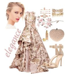 """""""Elegant Dress"""" by grinevagh ❤ liked on Polyvore featuring Glam Cham, Monique Lhuillier, Chanel, Anne Klein, River Island, Gianvito Rossi and Yves Saint Laurent"""